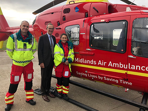 Midlands Air Ambulance Paramedics Alistair McNeill and Sarah Folley with Ian Naylor of Bowcock & Pursaill Solicitors who are administering the local charity donations
